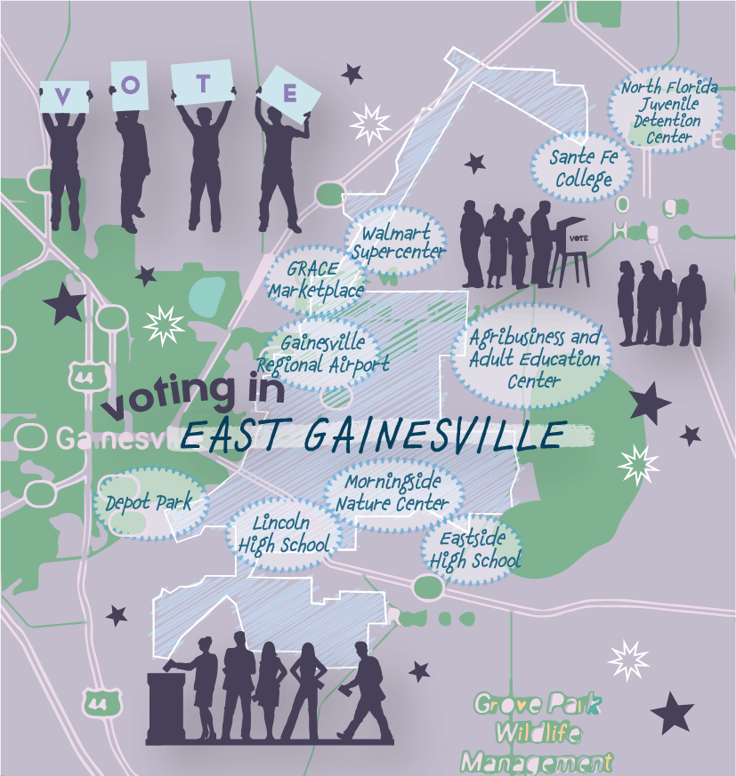Graphic of a map of East Gainesville