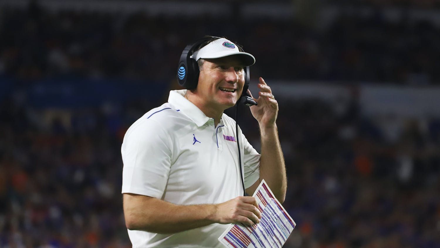 Florida head coach Dan Mullen and the Gators made a splash with the commitment of former Penn State defensive tackle Antonio Shelton Wednesday. Photo from UF-Virginia game in December 2019.
