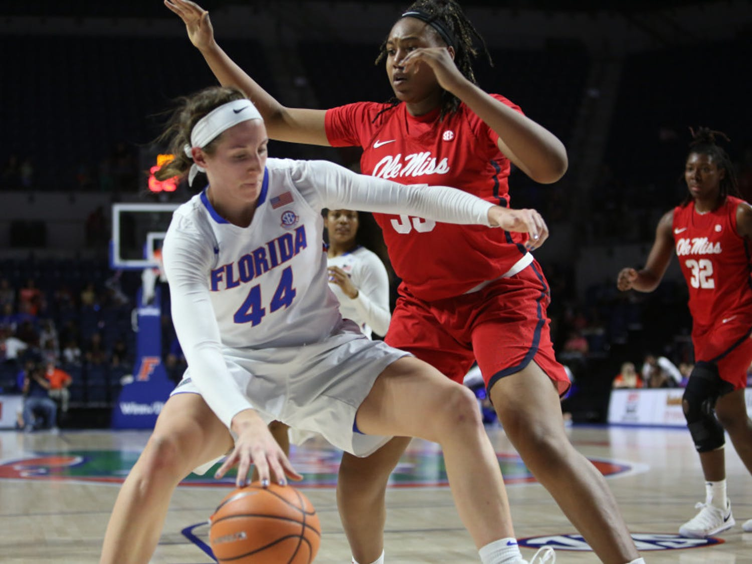Senior forward Haley Lorenzen is nearly averaging a double-double (12.9 points and 9.6 rebounds per game) this season. On Tuesday, she was named SEC Player of the Week after helping UF to its first two conference wins.
