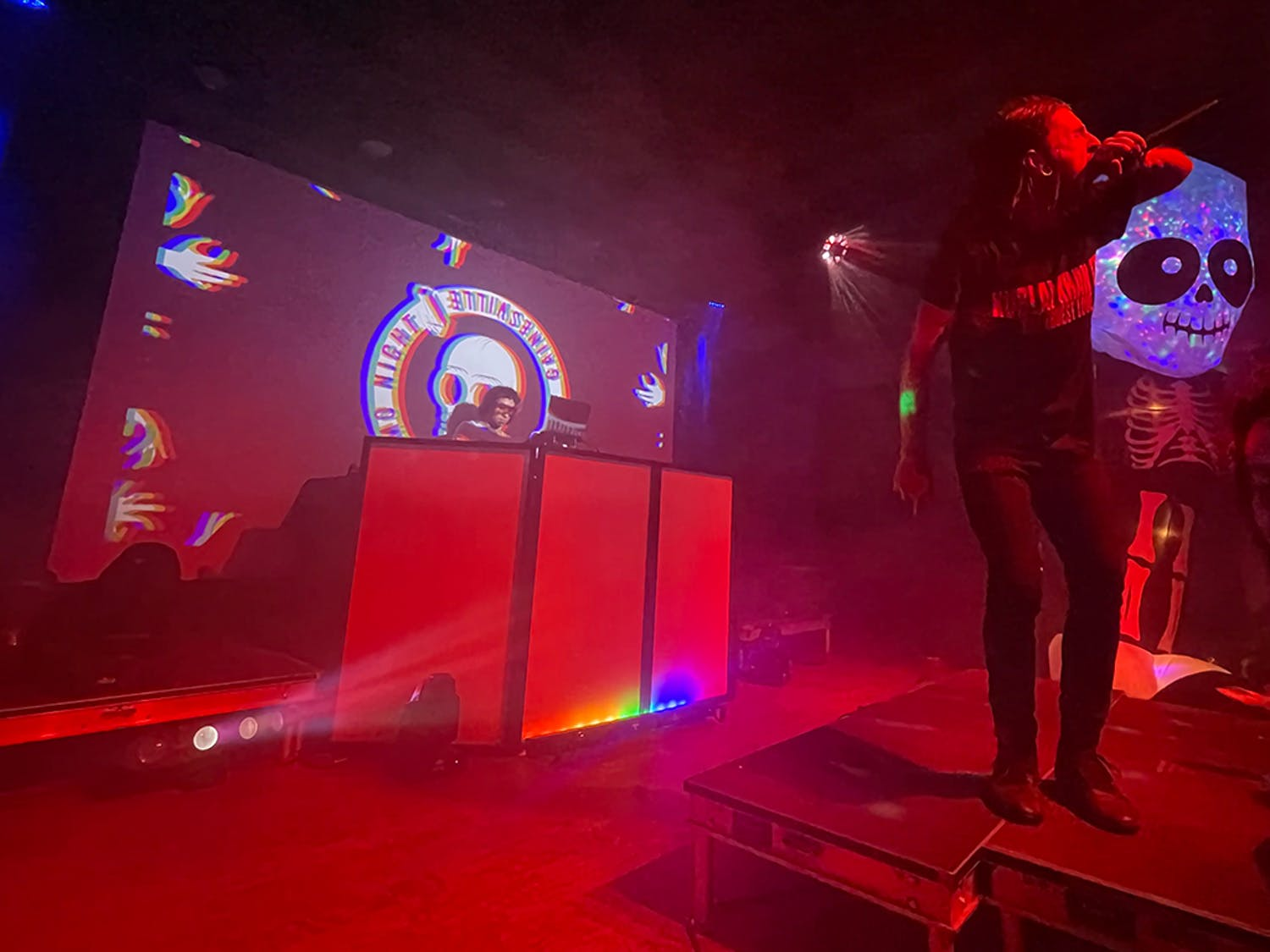Performer Saddy Daddy gets the crowd hyped in Emo Night's comeback show.