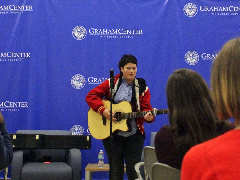 """Zo Bernardeau performs """"Gravity,"""" a song Bernardeau wrote after Bernardeau's best friend's suicide in 2013."""
