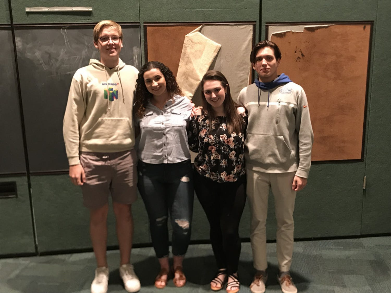 Eastside High School students James Donnelly (left), Carly Rubin, Camille Eyman and Graham Louis (right) will be performing and competing as the district representative for district 12.