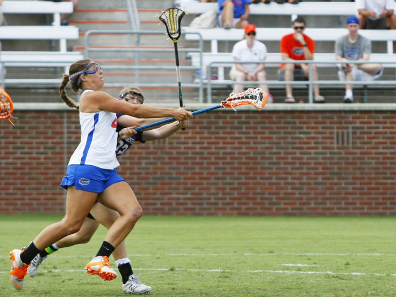 Senior Kitty Cullen attempts a shot during Florida's 14-7 win against Northwestern in the ALC Championship Game on May 5, 2012, at Dizney Stadium. Cullen said teammate Ashley Bruns could beat any defender when Bruns attacks from the crease.
