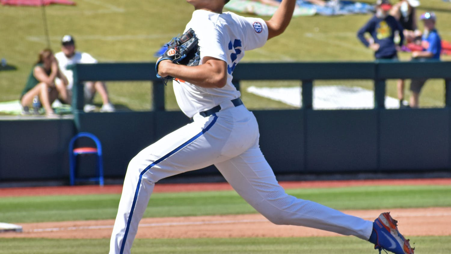 Junior Franco Aleman delivers a pitch against Jacksonville on March 14.