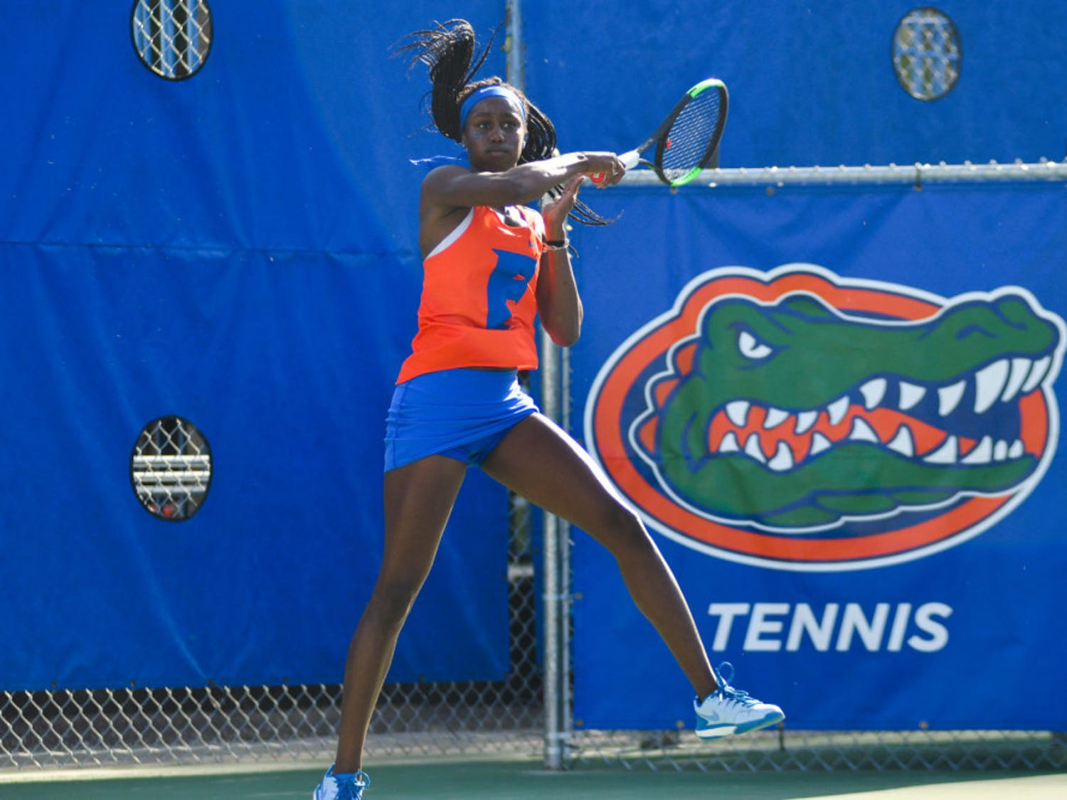 Junior Marlee Zein hits a forehand return against Boson College in the 2019 NCAA Tournament. Zein ranks 85th among singles players