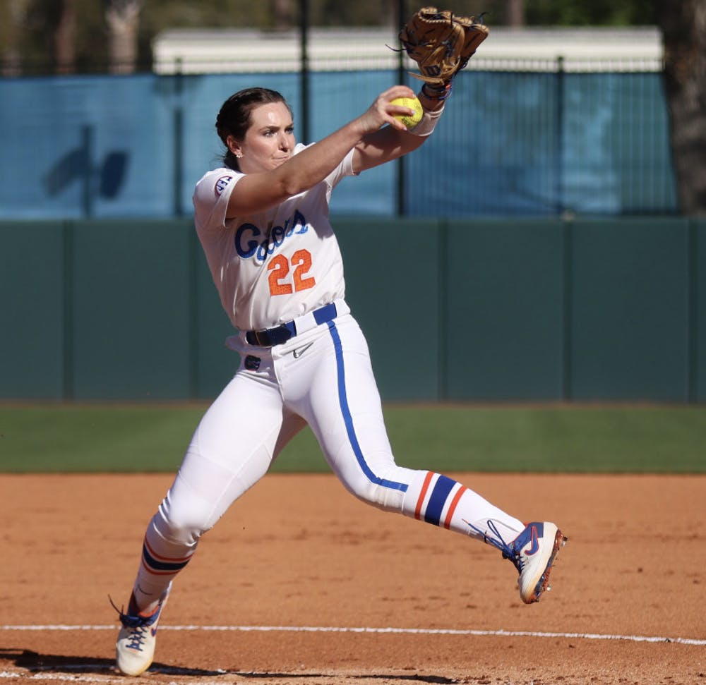 <p>Elizabeth Hightower winds up in the pitcher's circle against FSU March 3.</p>