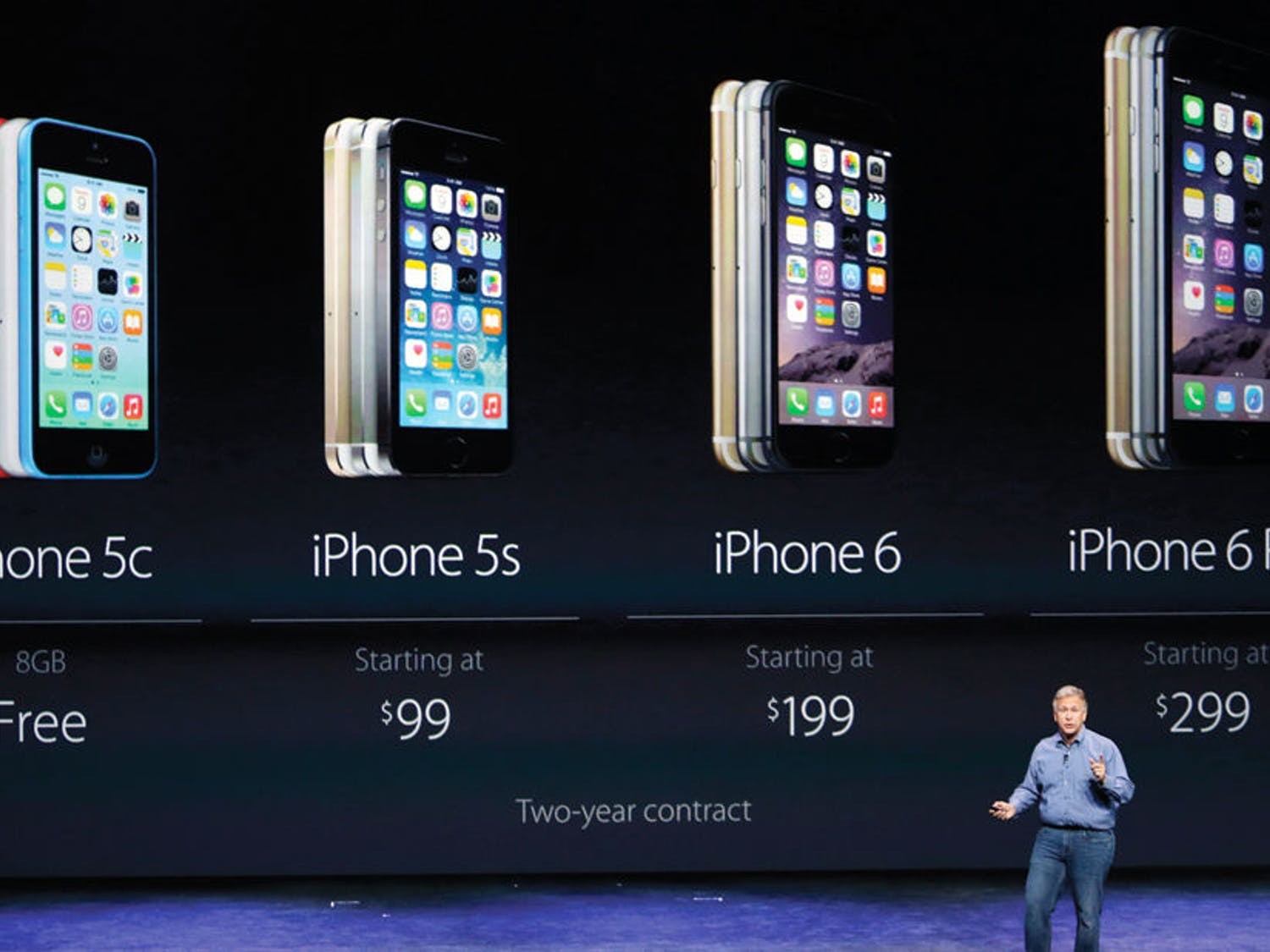 Phil Schiller, Apple's senior vice president of worldwide product marketing, discusses the costs of the new iPhone 6 and iPhone 6 plus on Tuesday, Sept. 9, 2014, in Cupertino, Calif. (AP Photo/Marcio Jose Sanchez)