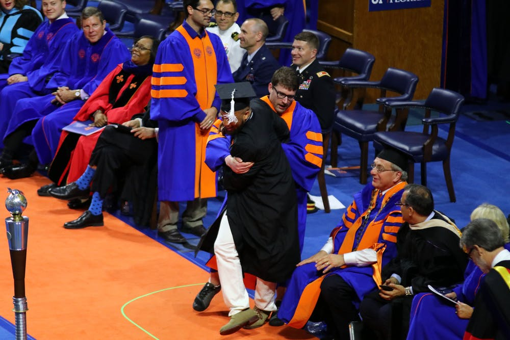 "<p>UF sent framed diplomas to the <span id=""docs-internal-guid-c0b4ab4d-7fff-dc65-2ac9-bee061acd0ce""><span>24 students who were</span> <span>rushed off stage during the Spring commencement ceremony.</span></span></p>"