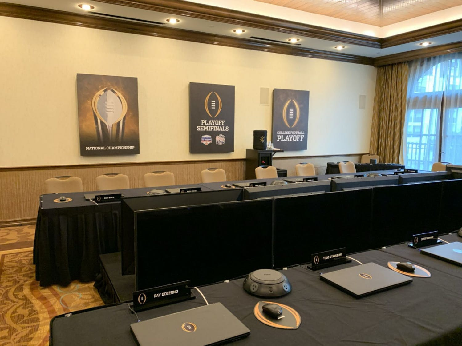 College Football Playoff selection room in Texas.