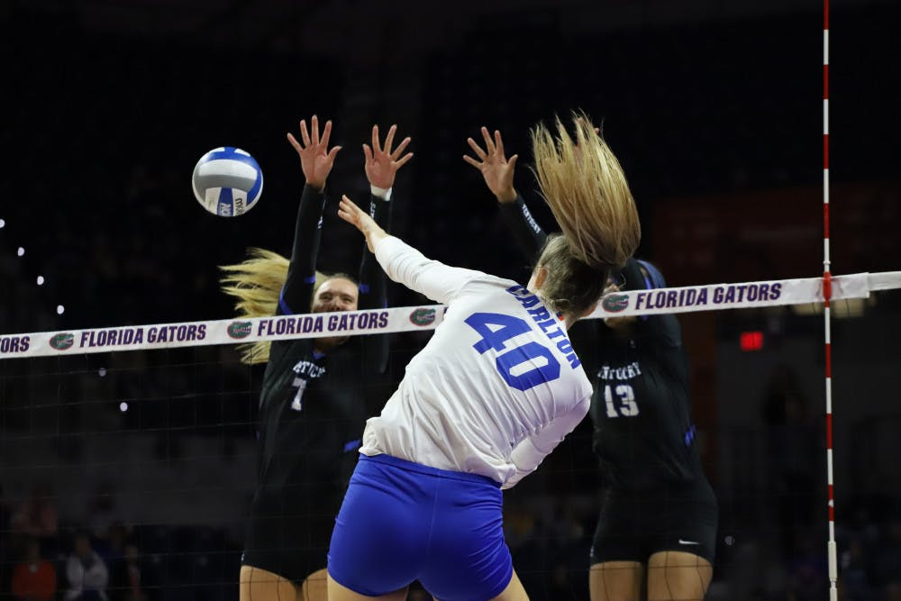 <p>UF redshirt senior Holly Carlton highlighted her team's focus on controlling serves.</p>
