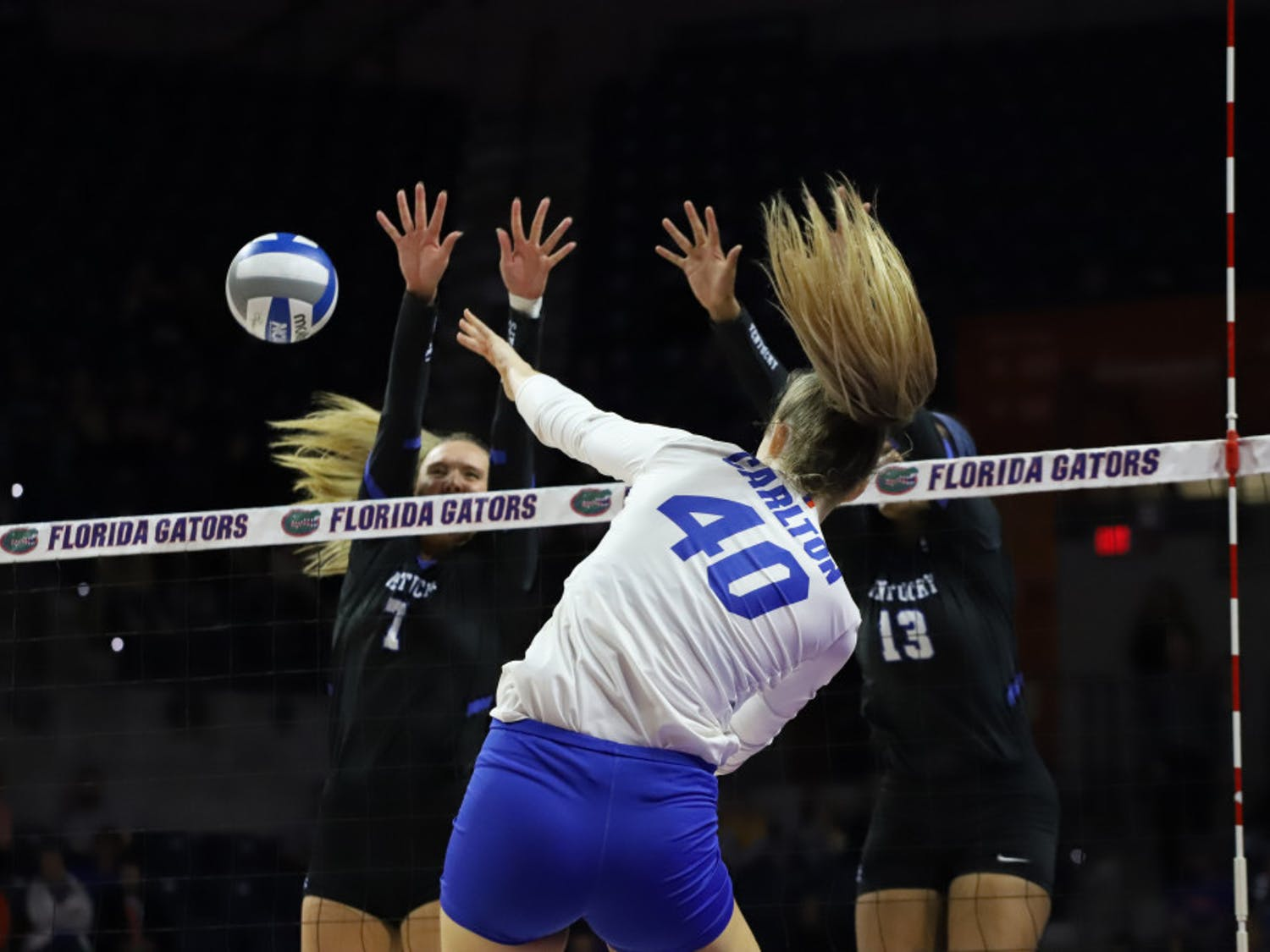 Now-senior Holly Carlton at Florida's game versus Kentucky last season. In the Gators' Thursday night match against Auburn, Carlton recorded six kills.
