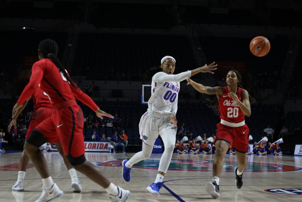 """<p dir=""""ltr""""><span>Guard Delicia Washington (00) is one of two returning Gators starters for the 2018-19 season.</span></p><p><span></span></p>"""