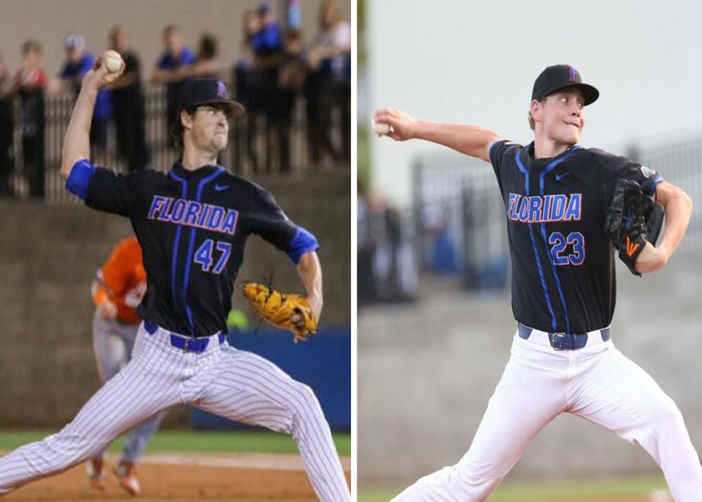 Pitchers Tommy Mace (left) and Jack Leftwich (right) are ready for another season playing baseball for Florida after imagining watching the team as fans.