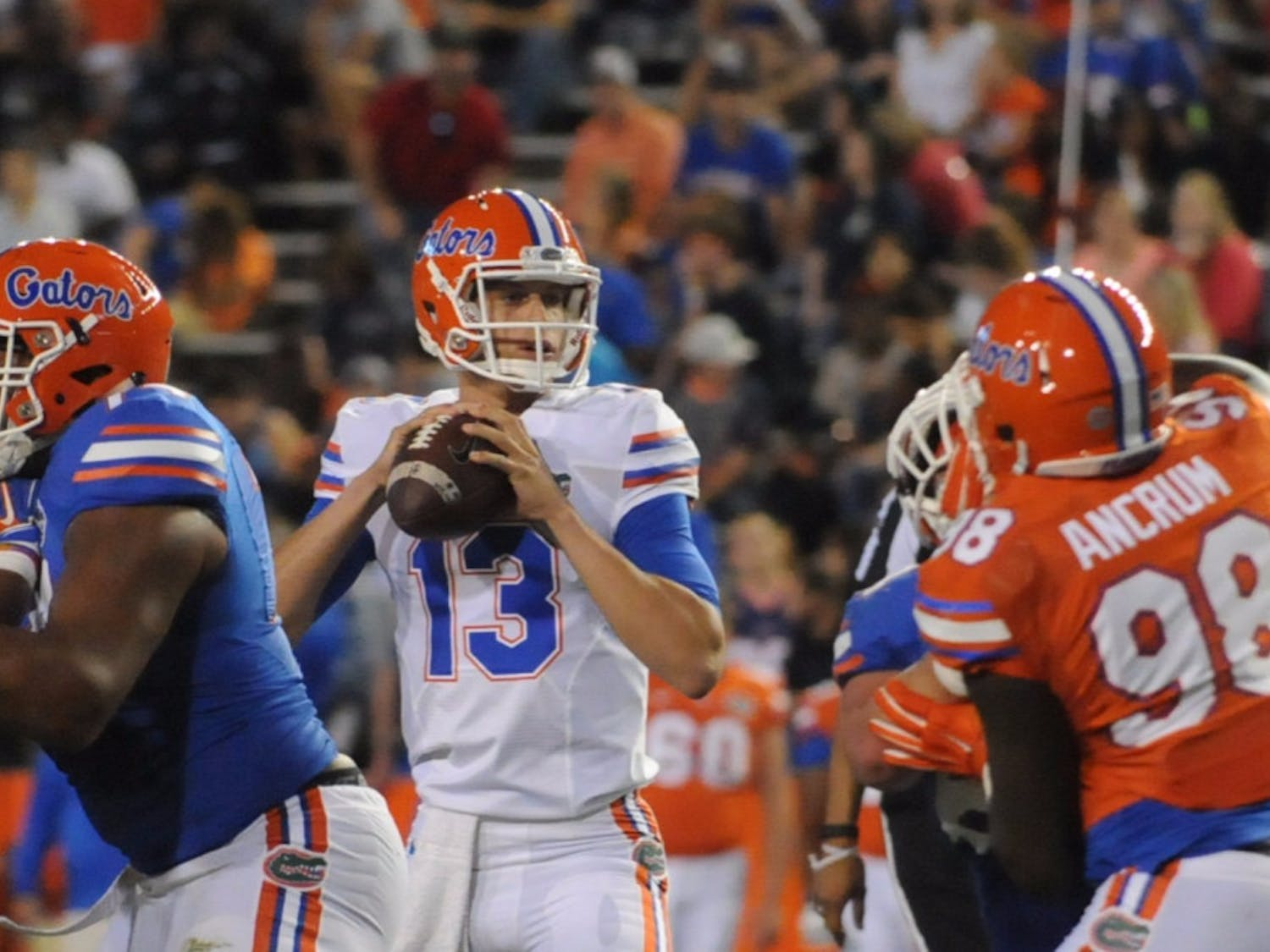 Quarterback Feleipe Franks drops back to pass during the Orange & Blue Debut on April 8, 2016, at Ben Hill Griffin Stadium.