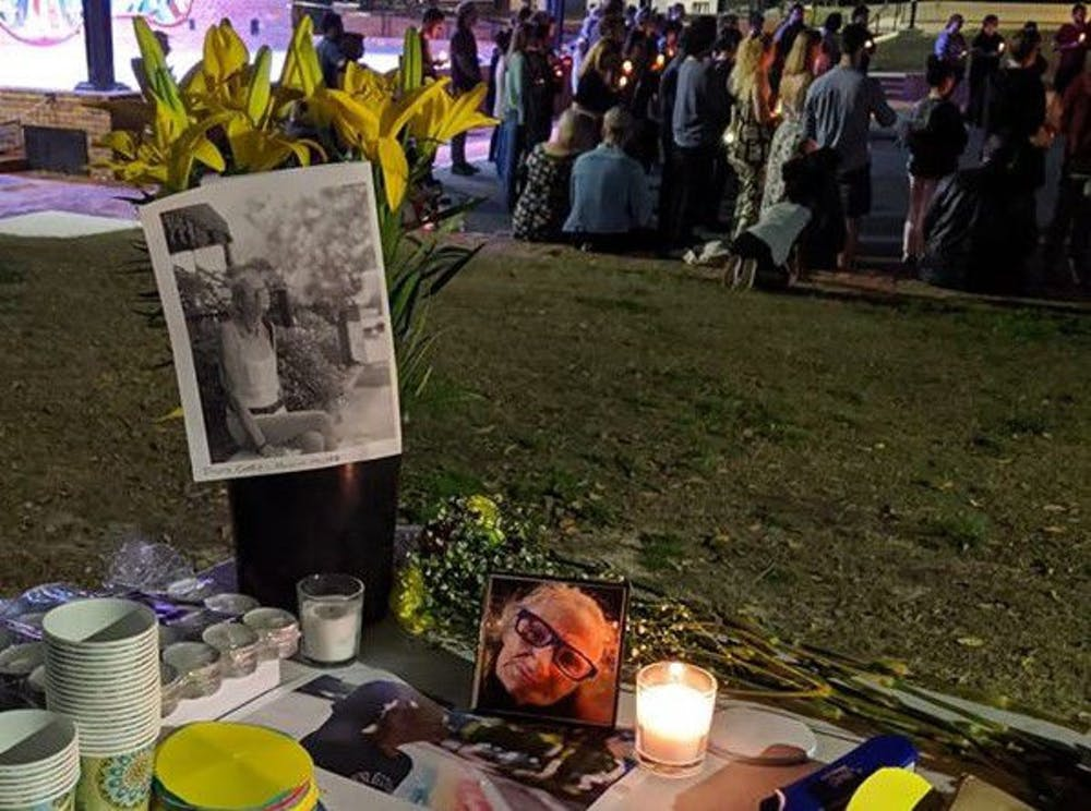 """<p>The first memorial service for """"Granny"""" took place Tuesday at Bo Diddley Plaza. City Commissioner David Arreola attended the service and posted this photo on Facebook with the caption, """"Granny's babies came to say goodbye.""""</p>"""