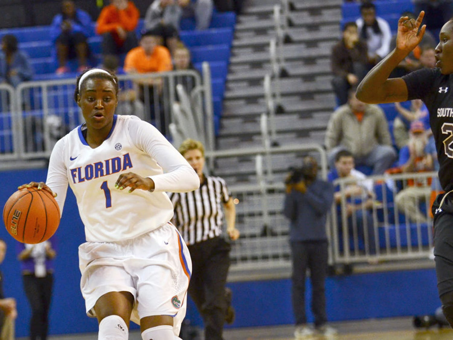 Sophomore Ronni Williams drives down the lane during Florida's 77-42 loss to No. 1 South Carolina on Monday in the O'Connell Center.