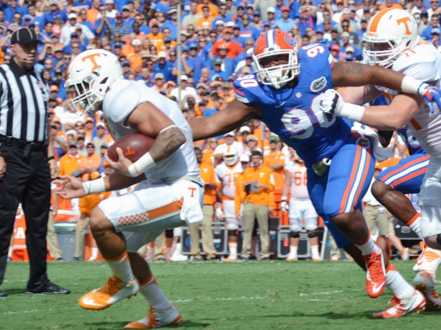 UF defensive lineman Jon Bullard (90) goes for a tackle during Florida's 28-27 win against Tennessee on Sept. 26, 2015, at Ben Hill Griffin Stadium.