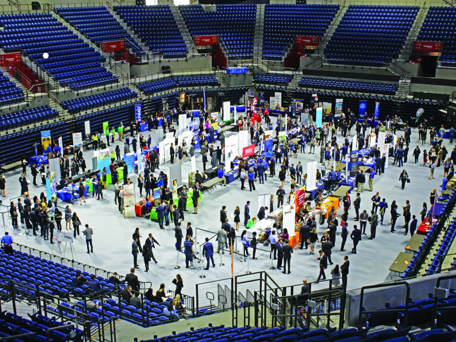 The first Career Showcase in the newly renovated Stephen C. O'Connell Center drew in many students in January 2017. More than 250 employers showed up for the event.