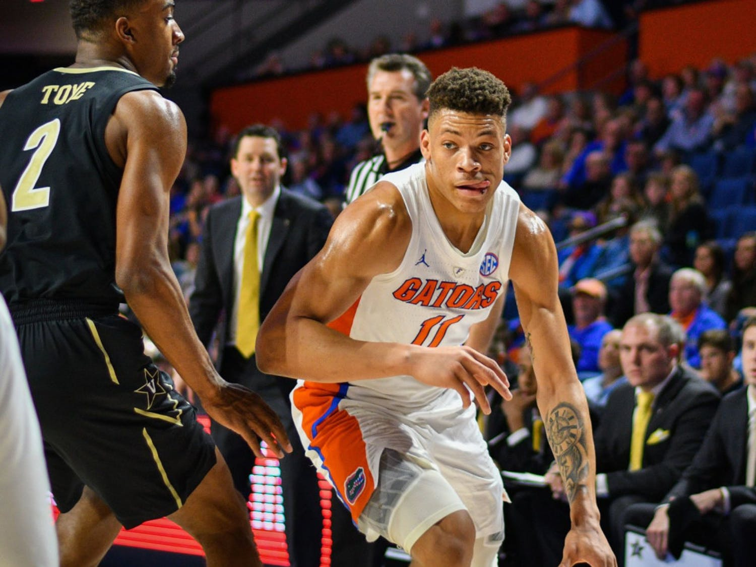 Freshman Keyontae Johnson scored a team-high 15 points and collected nine rebounds in the Gators' 66-57 win over Vanderbilt Wednesday night.