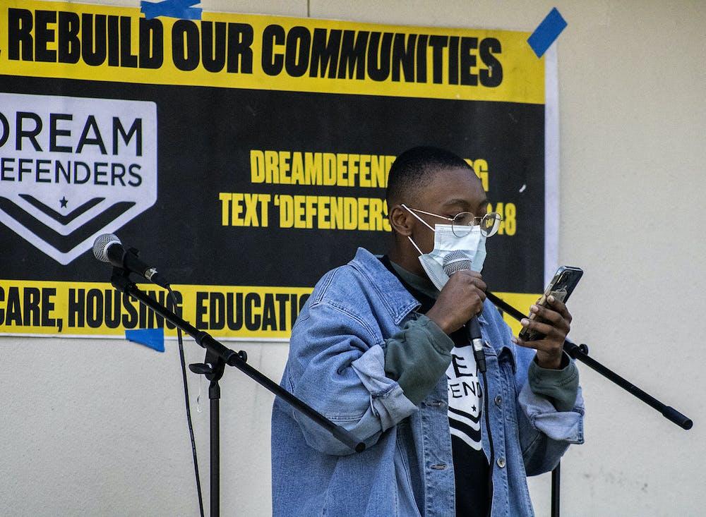 Dayanna Peek, a UF international studies freshman, speaks at a GoDDsville Dream Defenders event bringing awareness to Florida House Bill 1 on Friday, April 2, 2021.