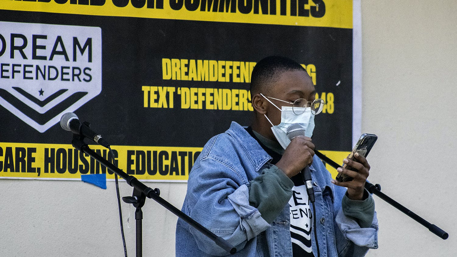 Dayanna Peek, a UF international studies freshman, speaks at a GoDDsville Dream Defenders event bringing awareness to Florida House Bill 1 on Friday, April 2, 2021.