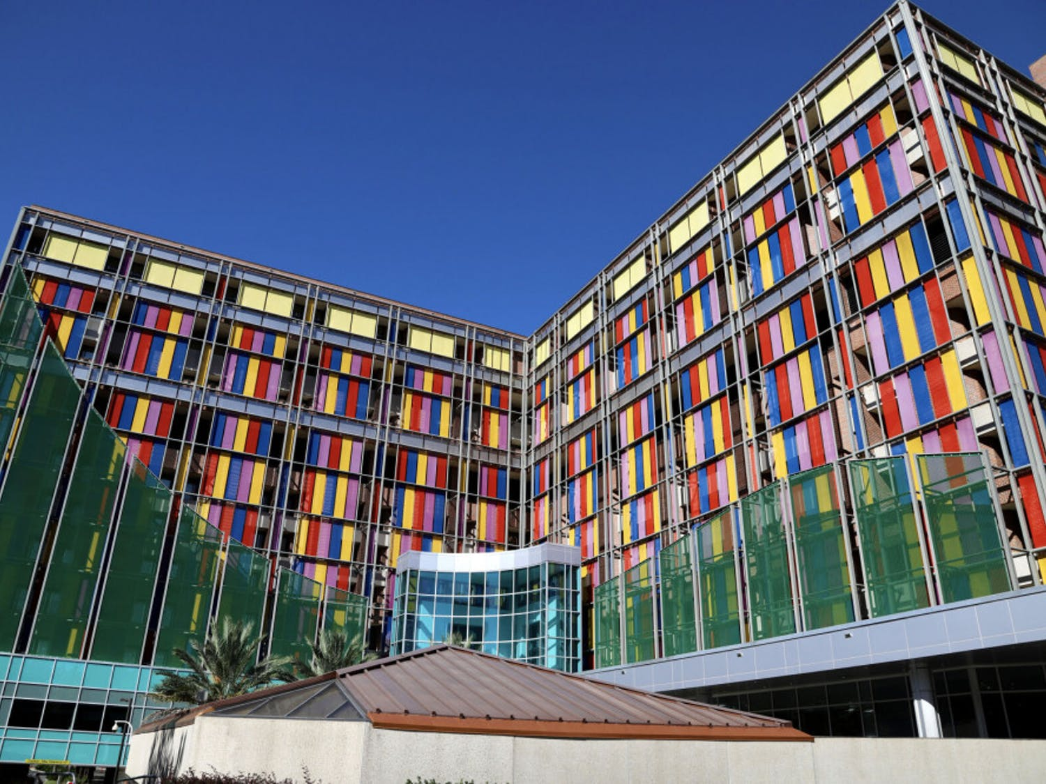 The multi-colored glass of the UF Health Shands Children's Hospital shines as the sunreflects off the panes on September 25, 2020. The pediatric staff provide care in more than 20specialities including pediatric hematology-oncology.