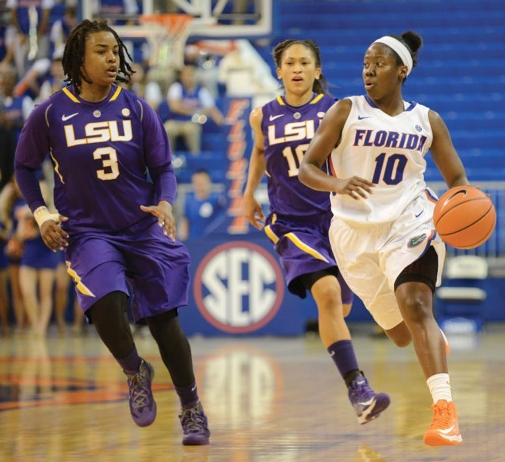 <p>Point guard Jaterra Bonds (10) runs the floor during Florida's 77-72 win against LSU on Jan. 6 in the O'Connell Center.&nbsp;</p>