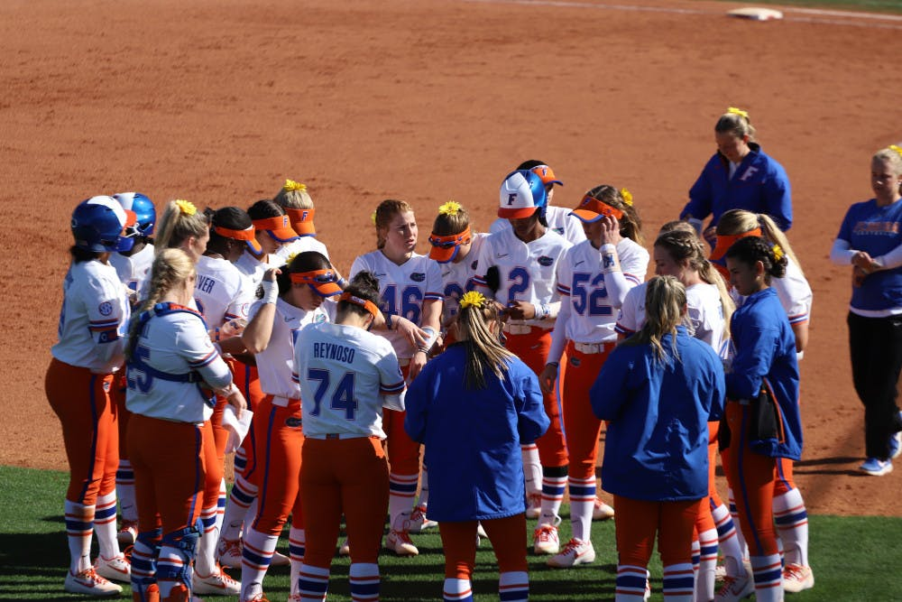 <p>The Florida softball team before its series against the Ragin' Cajuns. Lorenz will be returning to the program this year as a volunteer assistant coach.</p>