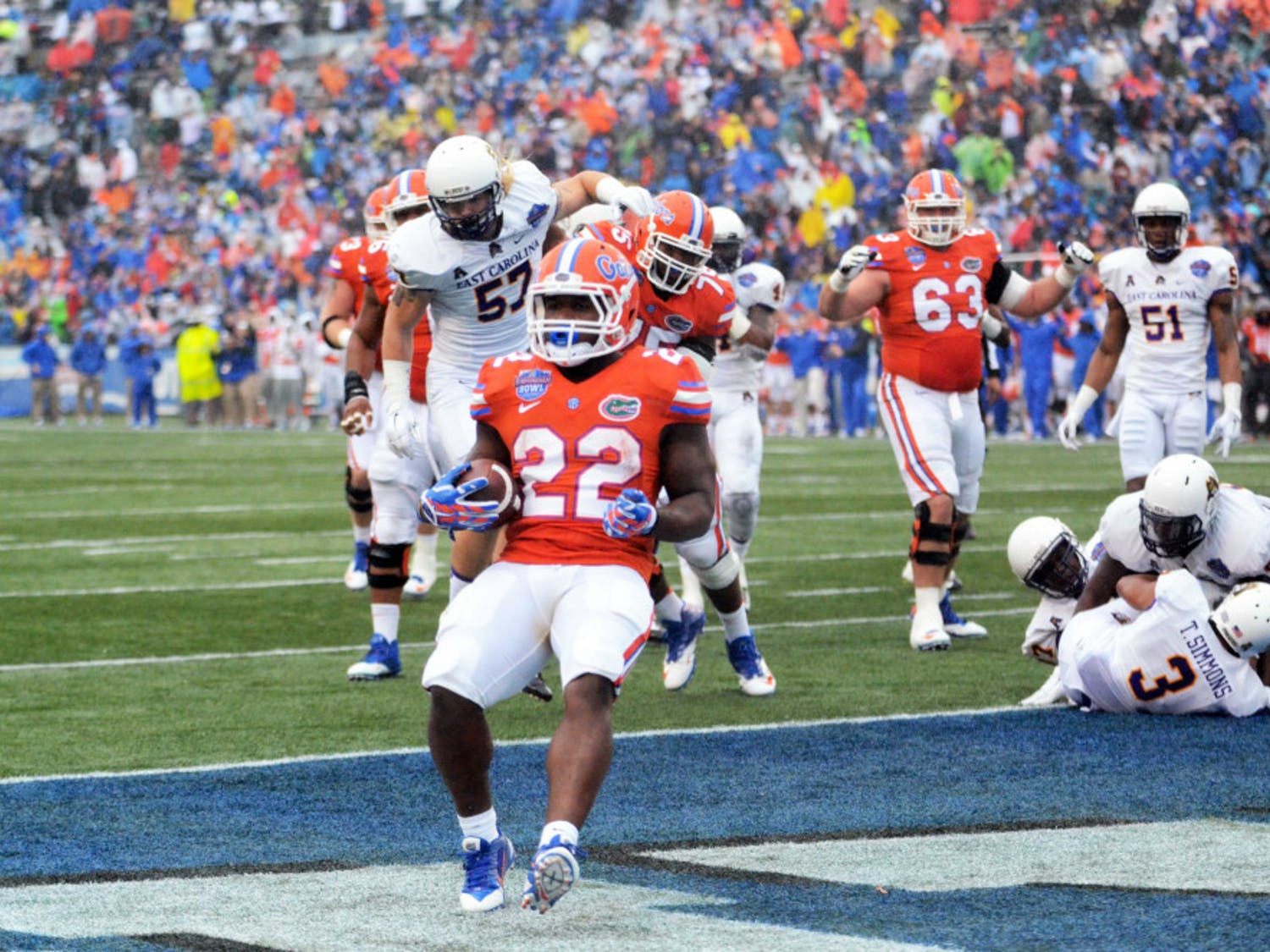 Adam Lane rushes into the end zone for a touchdown during Florida's 28-20 win against East Carolina on Jan. 3 in the Birmingham Bowl at Legion Field.