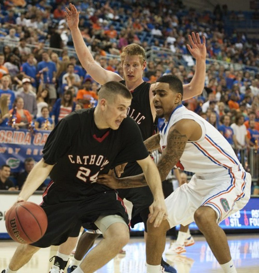 <p>Billy Donovan Jr. (24) is transferring to UF from Catholic University. He played in an exhibition in the Stephen C. O'Connell Center on Nov. 3.</p>