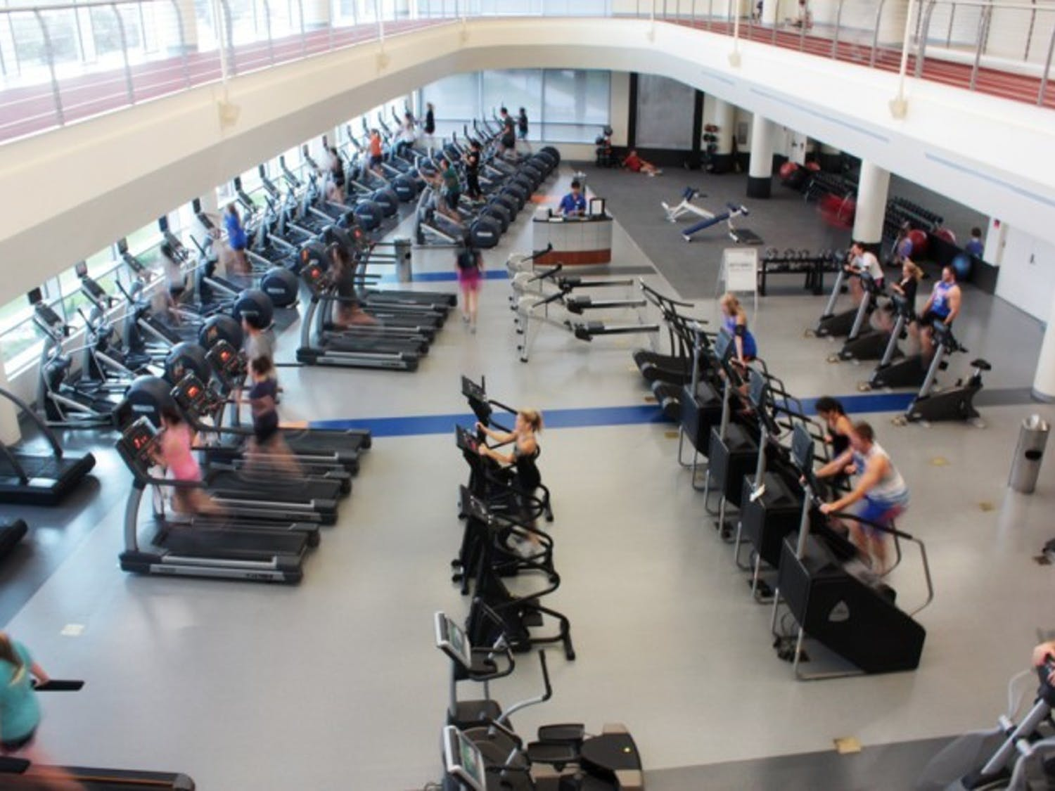 Students work out in Southwest Recreational Center on Thursday afternoon. The gym was one of nine recognized by the National Intramural-Recreational Sports Association as an outstanding sports facility.