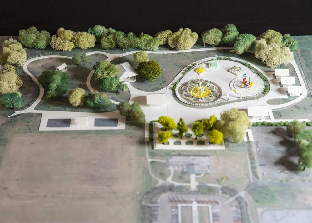 <p><span>A conceptual model shows the design of a splash pad that will be constructed at Veterans Memorial Park</span></p>