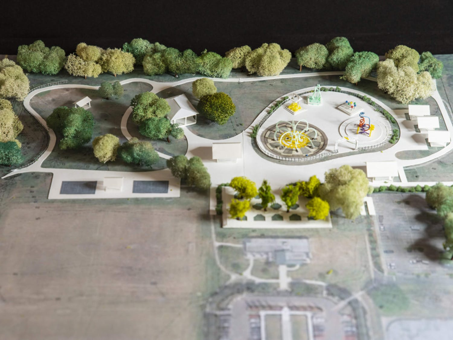A conceptual model shows the design of a splash pad that will be constructed at Veterans Memorial Park