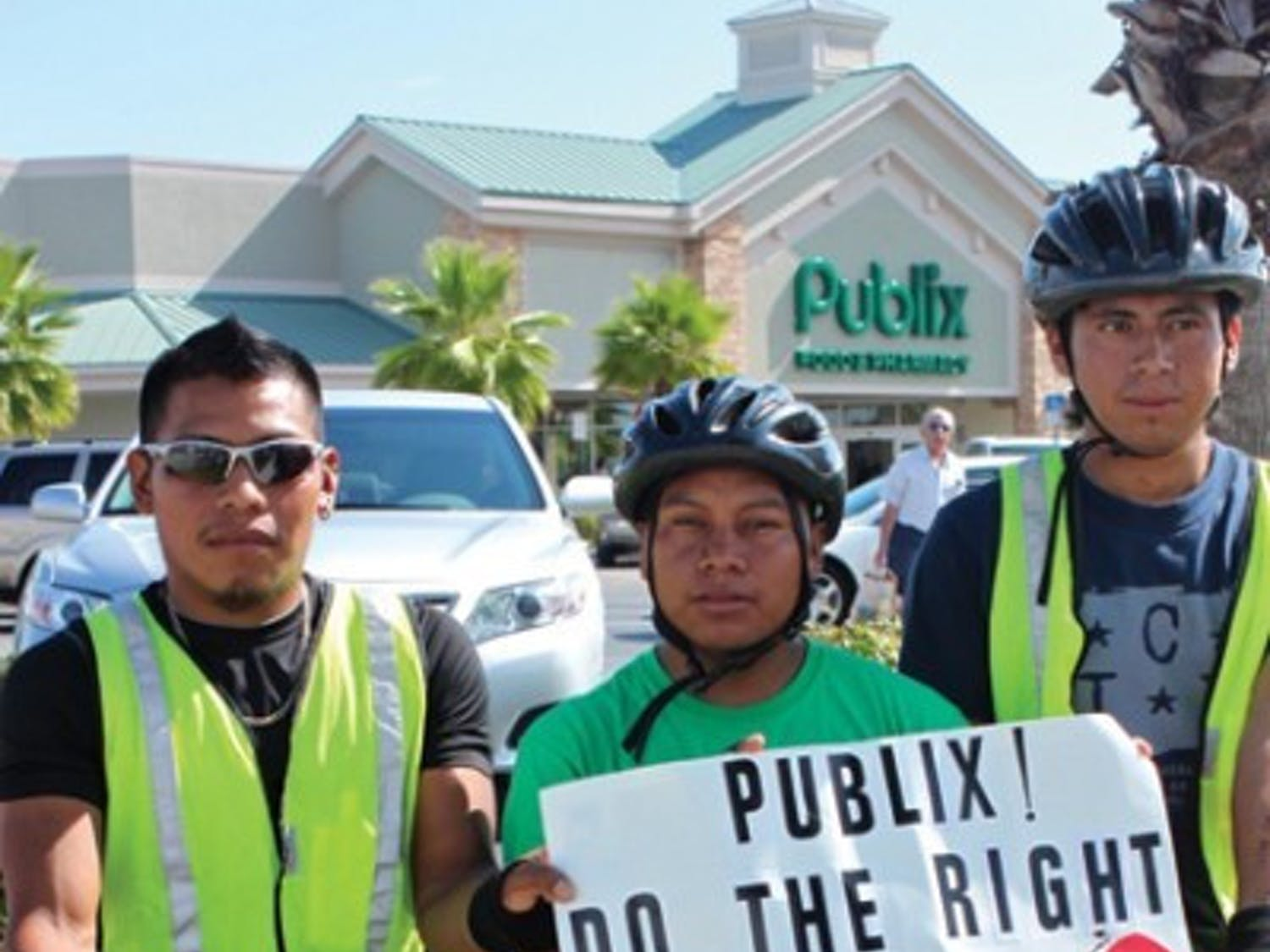 Coalition of Immokalee Workers (CIW) members Darinel Sales, Oscar Otzoy and Wilson Perez are bicycling the entire 200 miles from Immokalee, Fla., to Lakeland, Fla., as delegates from the CIW to personally invite Publix CEO Ed Crenshaw to visit Immokalee and learn about the Campaign for Fair Food.