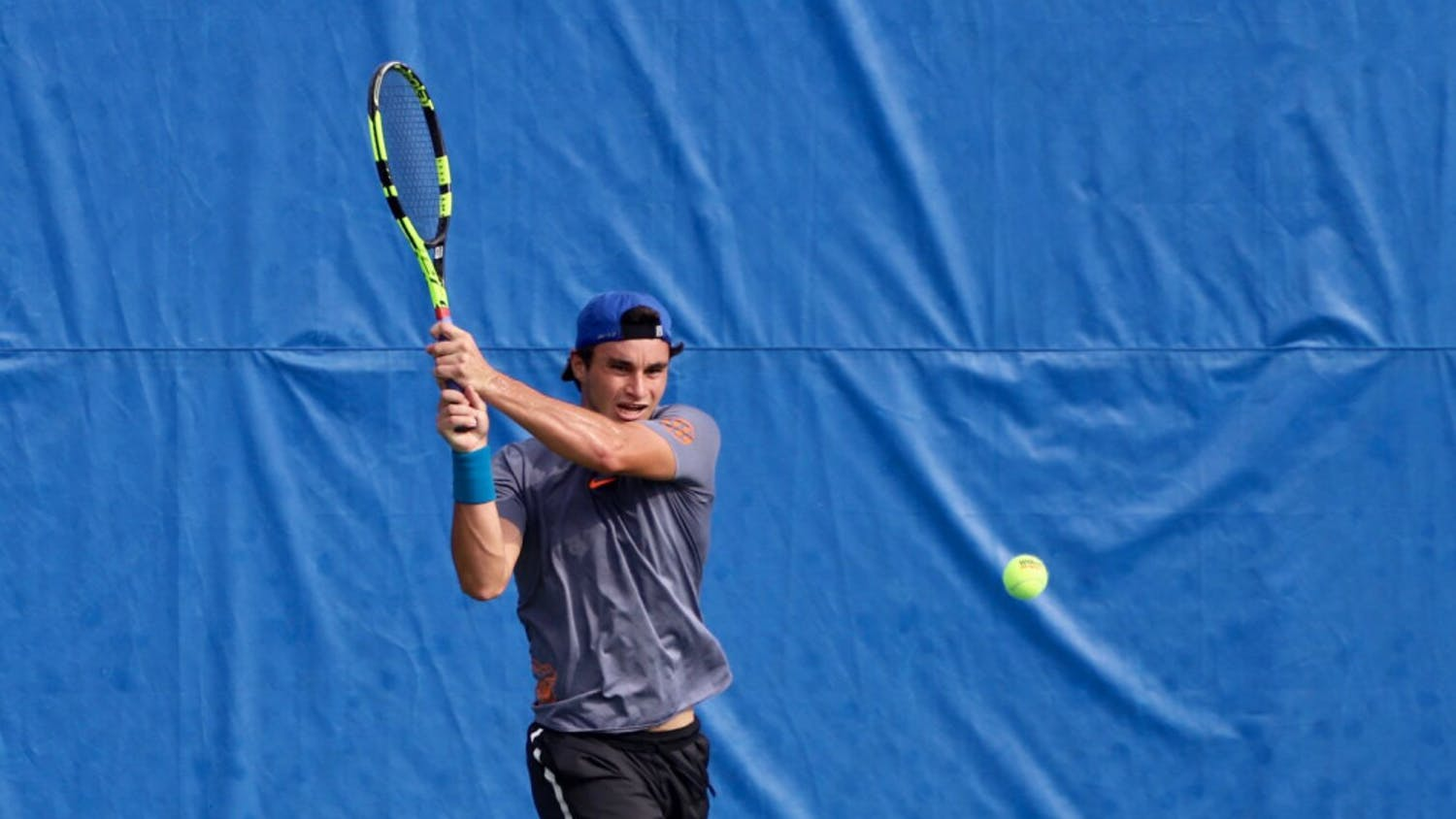 Senior Duarte Vale at day four of the ITA Tournament in Gainesville last year. He paired with Sam Riffice to earn a 6-4 doubles victory Friday.