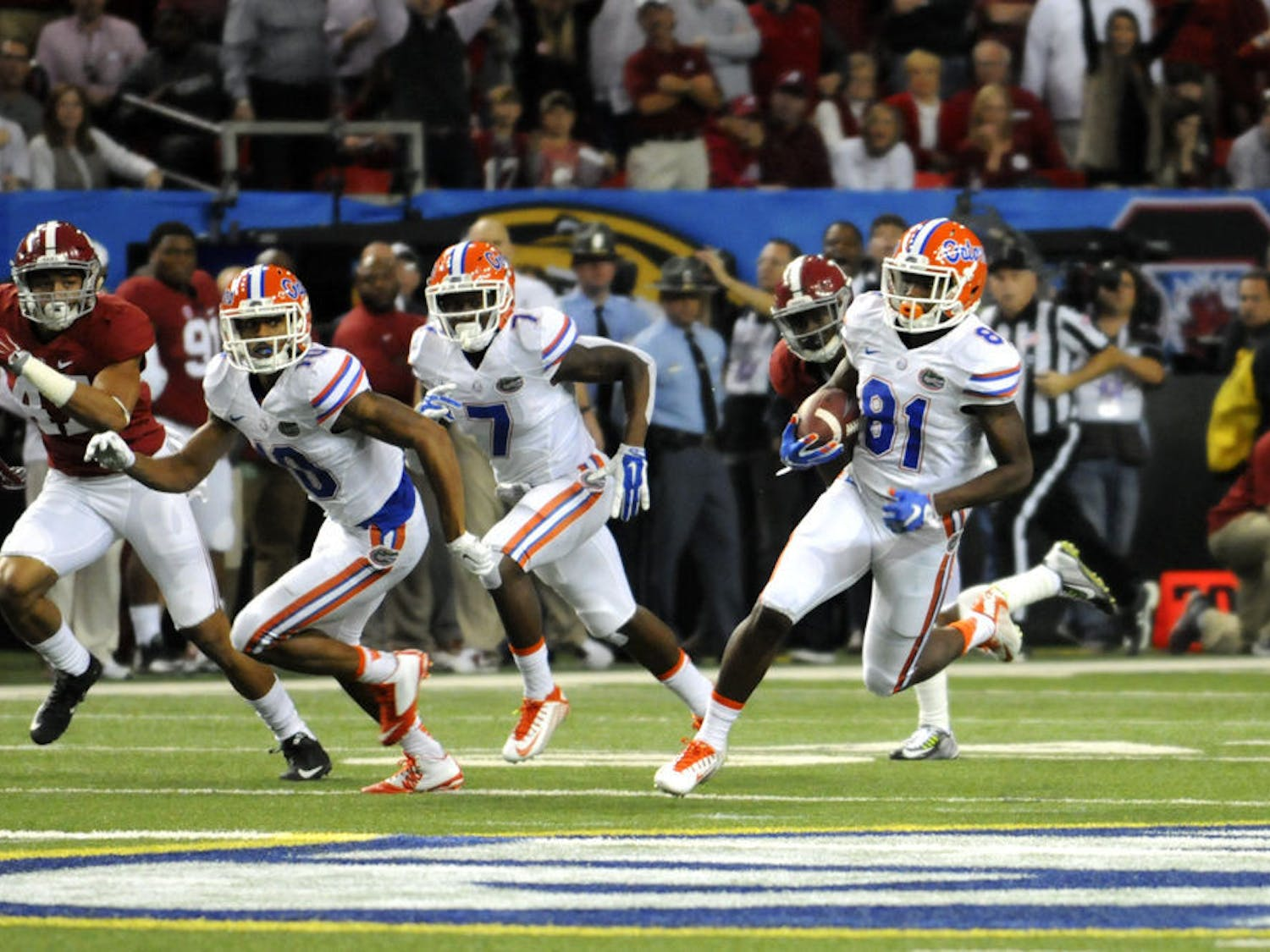UF's Antonio Callaway (81) returns a punt 85 yards for a touchdown during Florida's 29-15loss to Alabamain the Southeastern Conference Championship Game on Dec. 5, 2015, in the Georgia Dome in Atlanta.