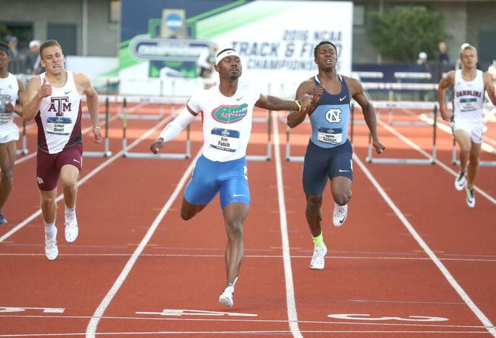 """<p><span id=""""docs-internal-guid-93d5aca0-ea97-980f-2ec0-7d2e5005c6df""""><span>UF hurdler Eric Futch races during the NCAA Division I Outdoor Track and Field Championships on June 10, 2016, in Eugene, Oregon.</span></span></p>"""