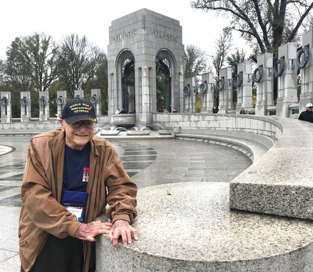 <p>Stuart Newman visits the World War II Memorial located in Washington D.C. in late October 2018. Newman was a WWII veteran.</p>