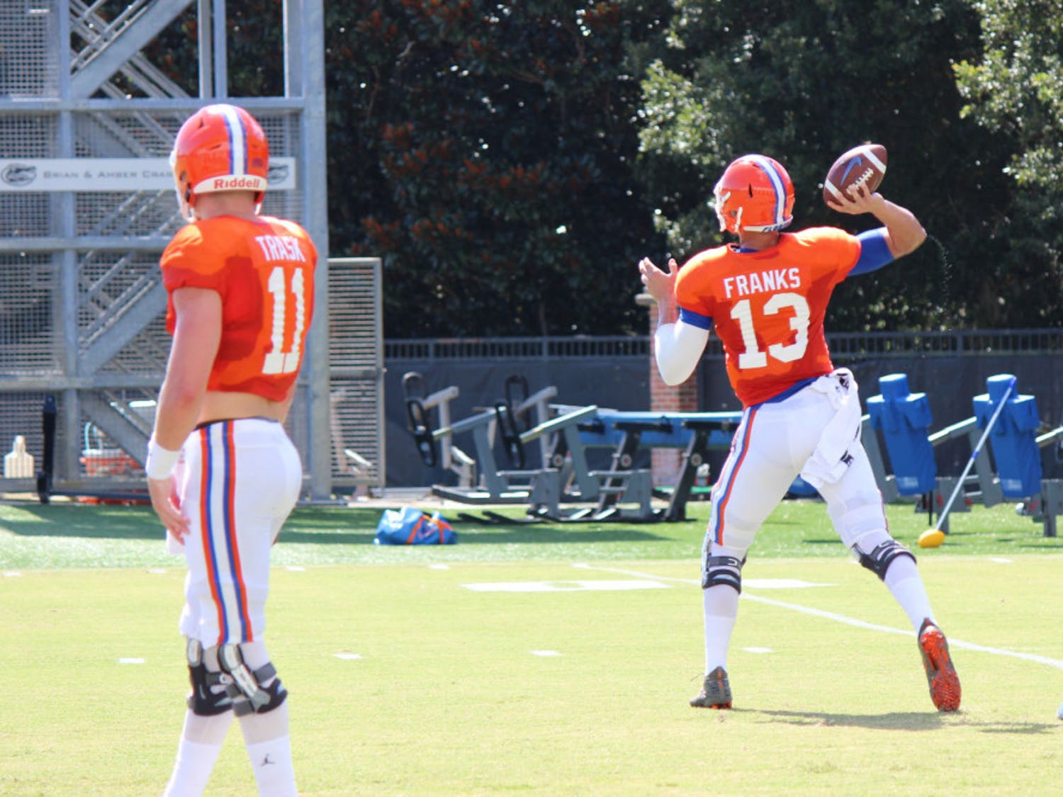 Redshirt sophomore Feleipe Franks (right) is competing with redshirt sophomore Kyle Trask (left) for the starting quarterback position. Franks played in all 11 games for UF last season and started eight.