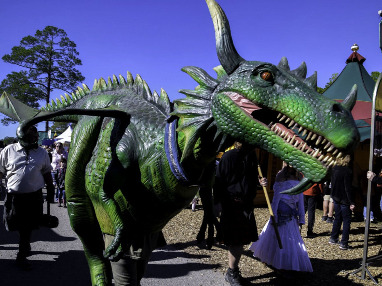 A Hoggetowne Medieval Faire participant dressed as a dragon wanders through the merchant tents.
