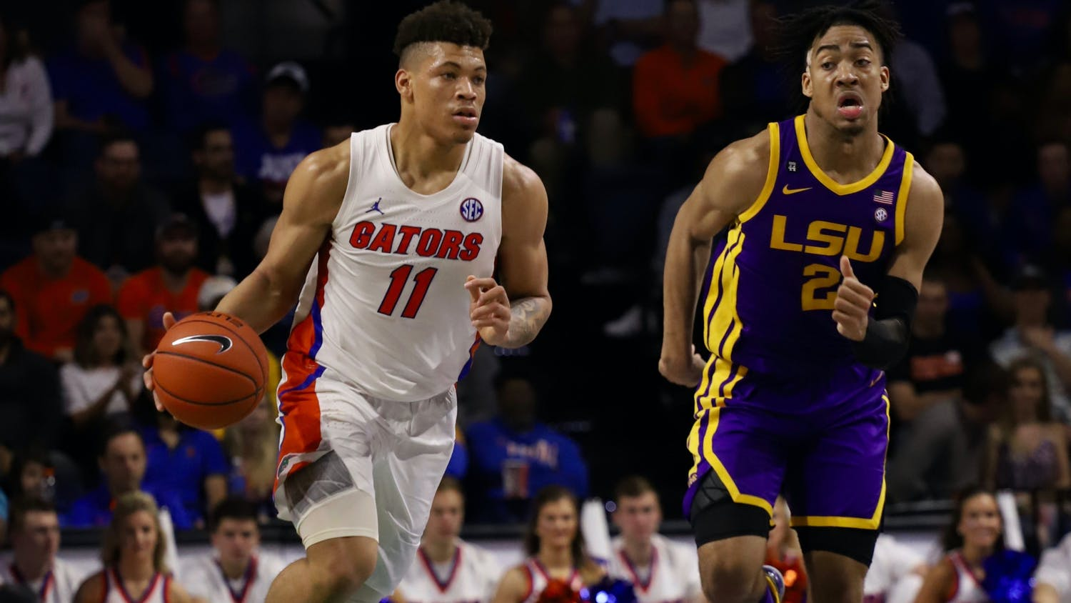 "Gators forward Keyontae Johnson at Florida's game against LSU Feb. 26. Johnson is in ""critical but stable"" condition at Tallahassee Memorial Hospital."