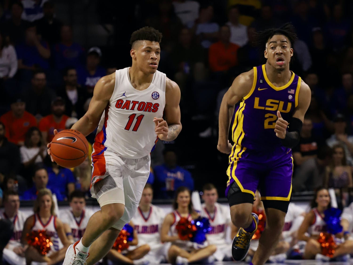 """Gators forward Keyontae Johnson at Florida's game against LSU Feb. 26. Johnson is in """"critical but stable"""" condition at Tallahassee Memorial Hospital."""