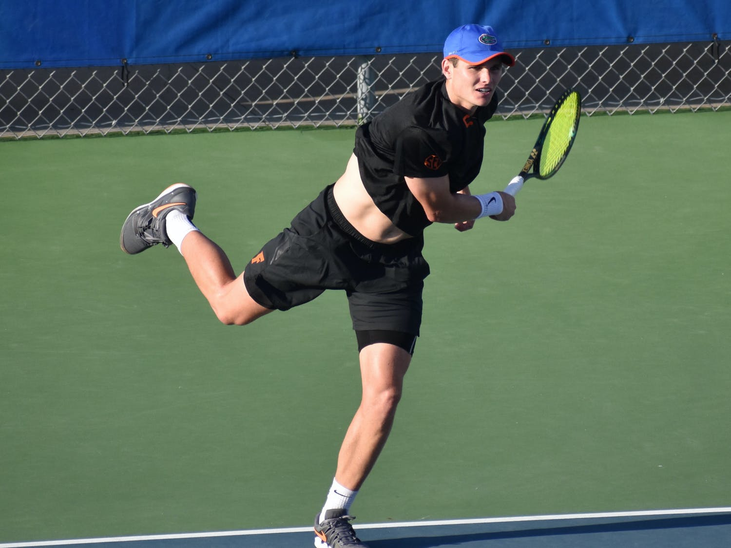 Sam Riffice against TCU on March 17. Riffice is set to compete in the individual singles title match Friday.