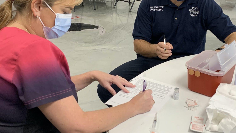 Gainesville Fire Rescue preparing the vaccines for its team. (Gainesville Fire Rescue / Courtesy to The Alligator)