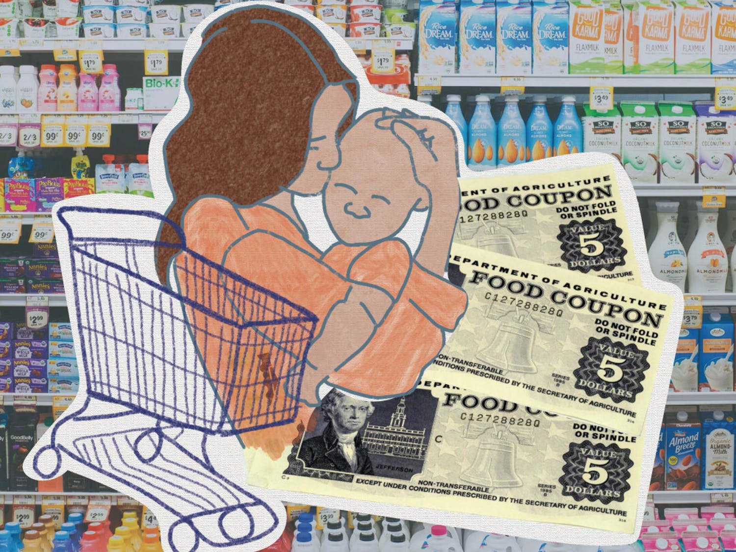 Graphic of food coupons and mother and child