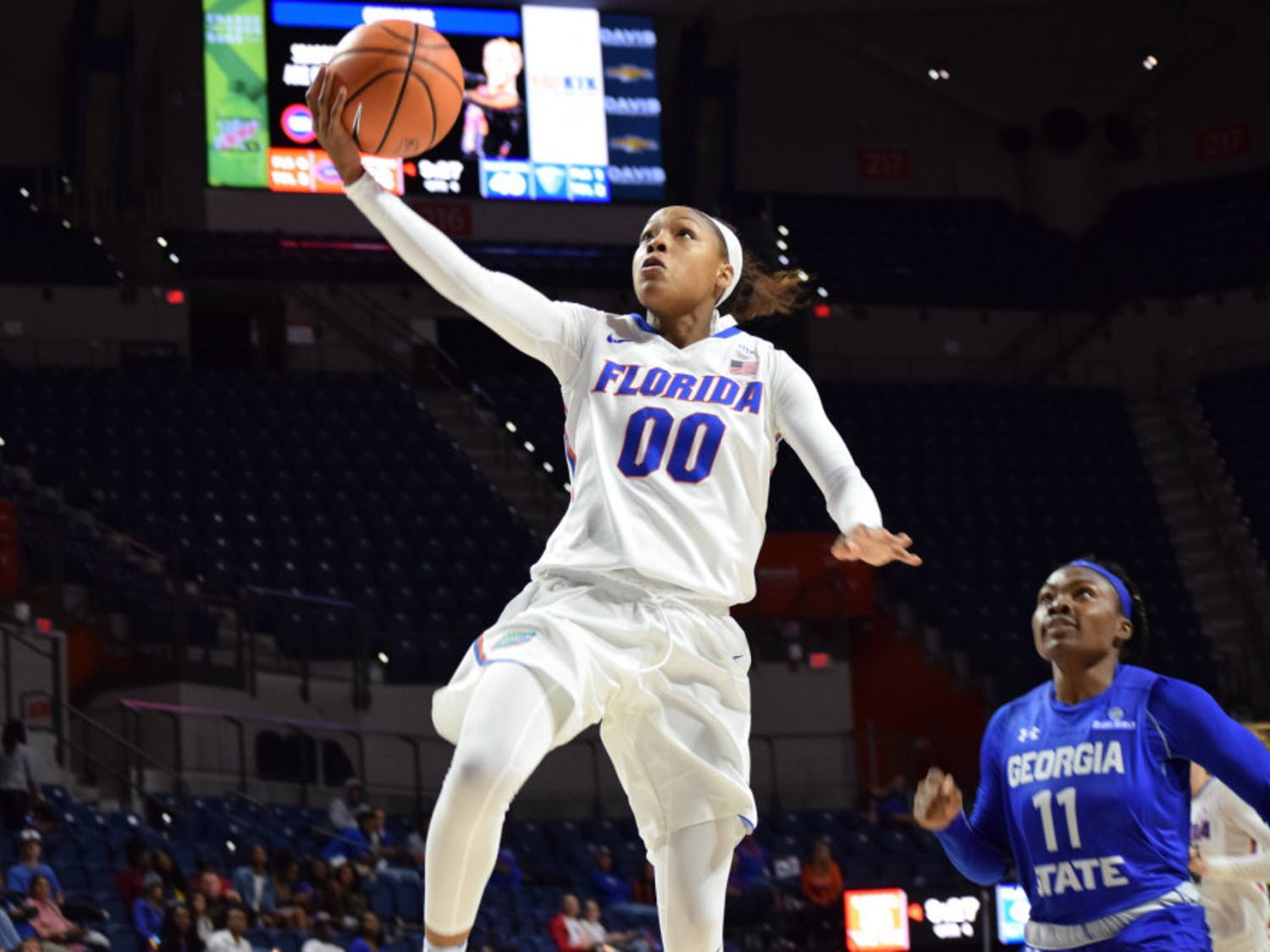 Guard Delicia Washington led the Gators in scoring with 16 points against Bethune-Cookman. She also finished with 10 rebounds and an assist.