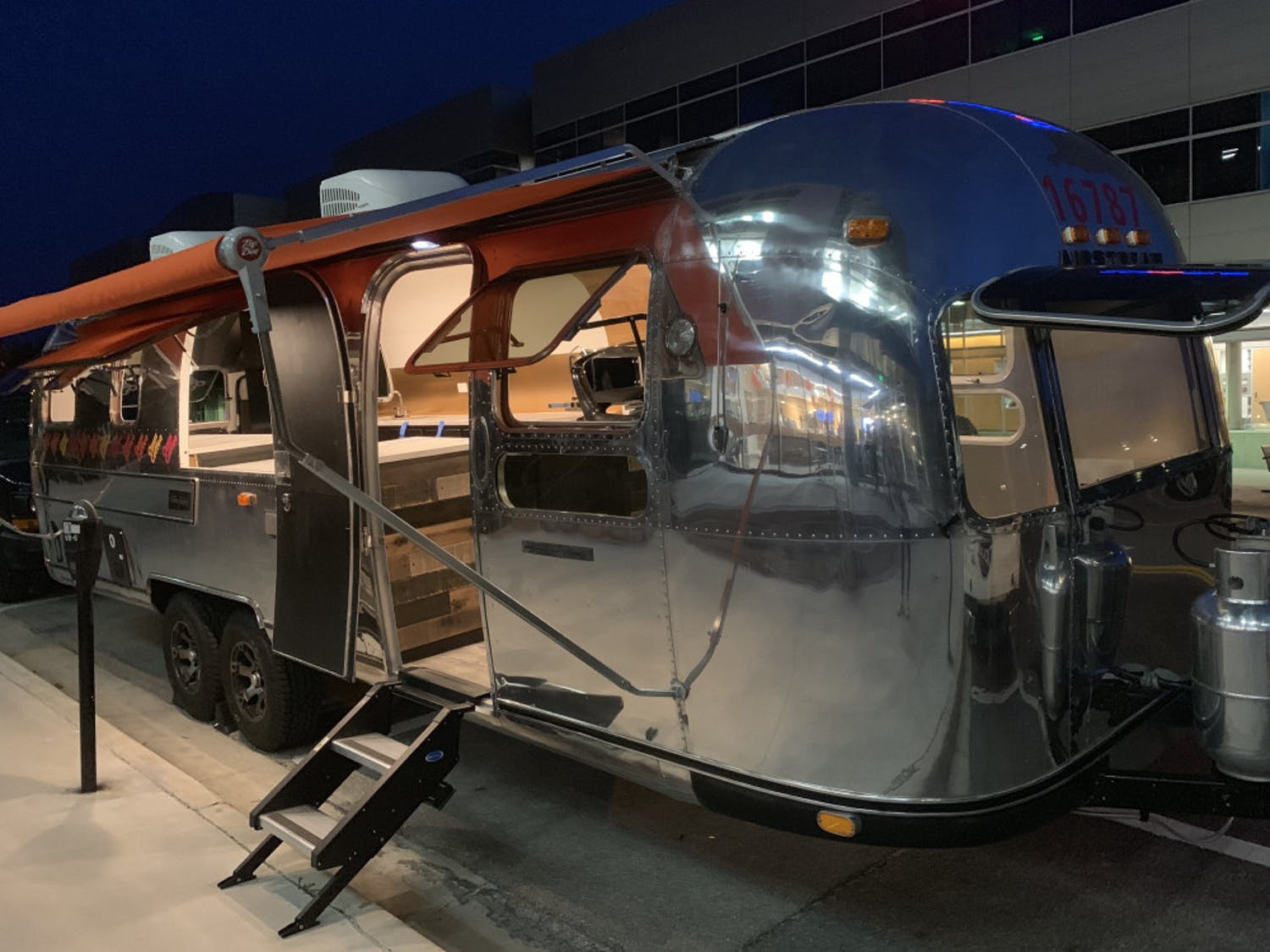 The Opus Coffee Airstream is displayed outside Gainesville's Innovation District Thursday night. It will be moved to 4th Ave Food Park and open for business this month.