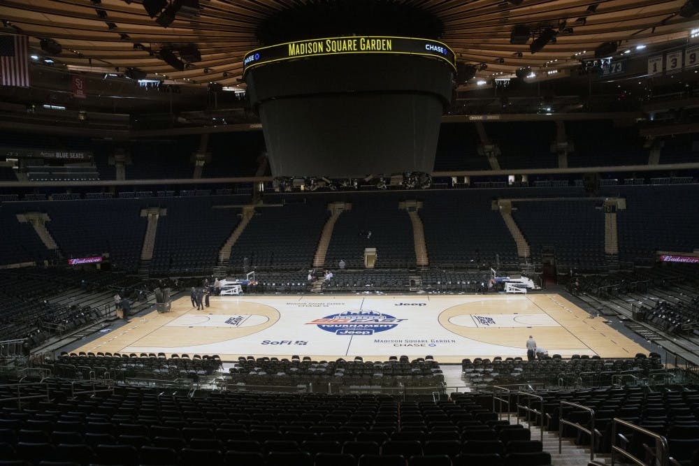 <p>Madison Square Garden is shown after NCAA college basketball games in the men's Big East Conference tournament were cancelled due to concerns about the coronavirus, Thursday, March 12, 2020, in New York. The major conferences in college sports have all cancelled their basketball tournaments because of the new coronavirus, putting the celebrated NCAA Tournament in doubt. (AP Photo/Mary Altaffer)</p>