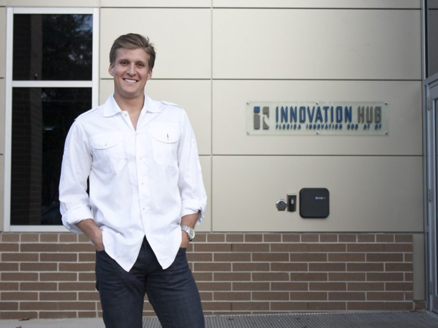 Jordan Johnson poses for a picture Friday evening at the Innovation Hub in downtown Gainesville.