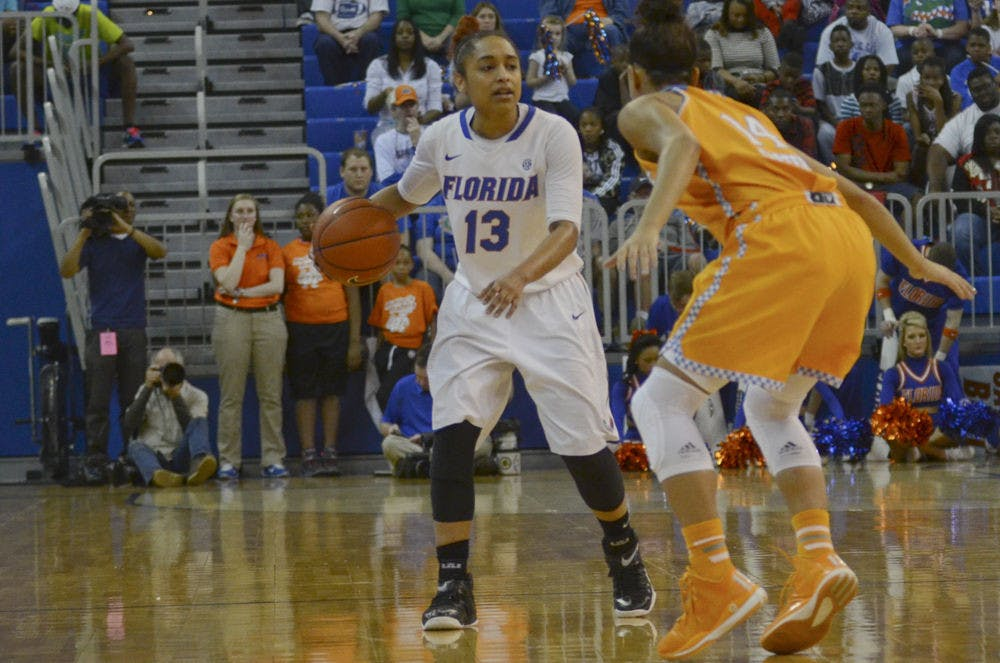 <p>UF point guard Cassie Peoples dribbles during Florida's 64-56 loss to Tennessee on Feb. 8, 2015, in the O'Connell Center.</p>